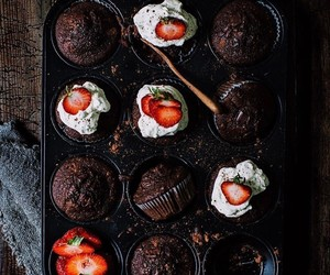cake, cupcakes, and strawberries image