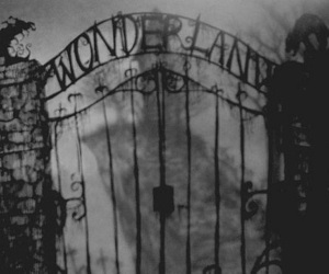 wonderland, dark, and black and white image