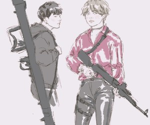 kpop, weapons, and art drawing image