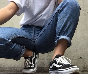 vans, jeans, and tumblr image