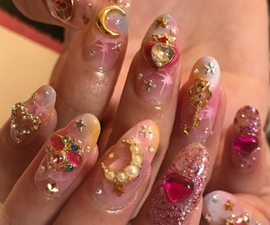 nails, aesthetic, and moon image