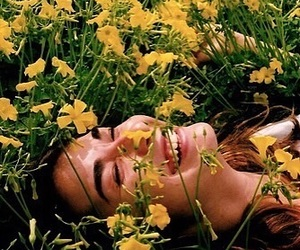 field, laughter, and flowers image