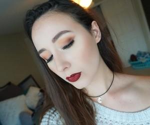 christmas, makeup, and red lips image