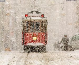 city, red, and snowing image