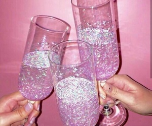 pink, glitter, and drink image