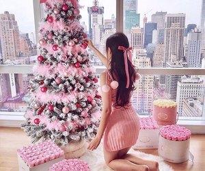 christmas, girl, and pink image