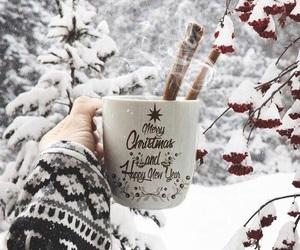 christmas, snow, and cup image