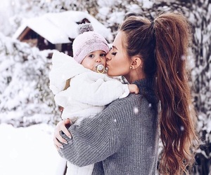 snow, baby, and family image