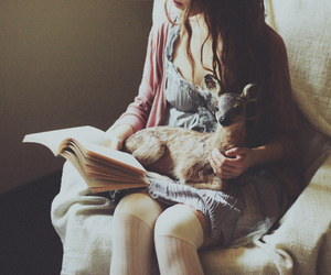 book, girl, and deer image
