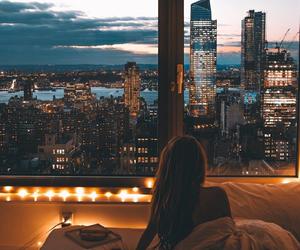 city, girl, and light image