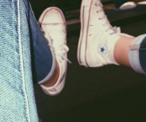converse, hightops, and jeans image