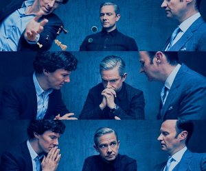sherlock holmes, john watson, and mycroft holmes image