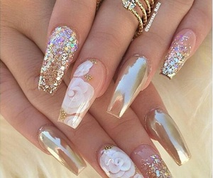 nails, gold, and flowers image