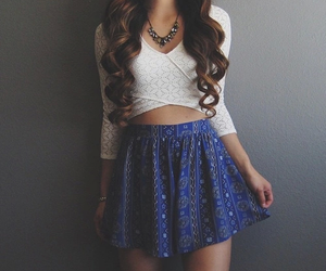blue, hair, and skirt image
