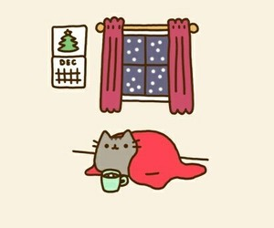 cat, christmas, and cold image