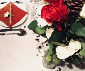 christmas, roses, and table image