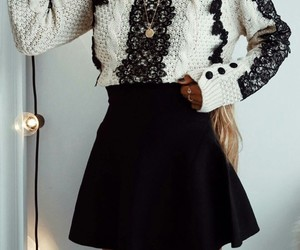 fashion, black and white, and skirt image