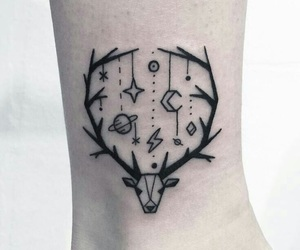 tattoo, moon, and space image
