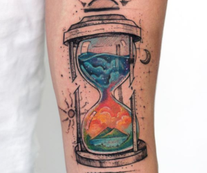 tattoo, hourglass, and ink image