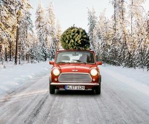 car, snow, and christmas image