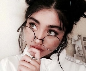 girl, glasses, and hair image