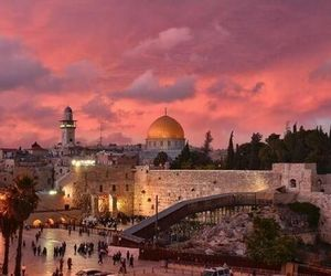 Jerusalem, old city, and sunset image