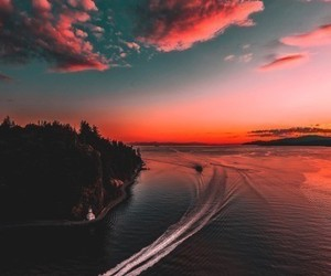 sky, sea, and sunset image