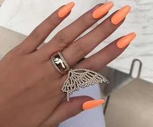 nails, luxury, and orange image