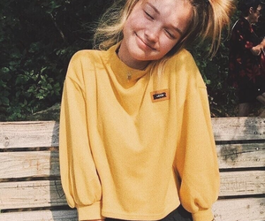 girl, yellow, and orange image