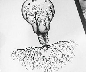art, trees, and light bulb image