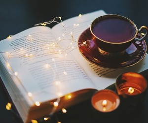 books, christmas, and coffee image