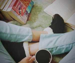 books, coffee, and socks image