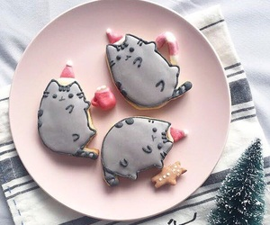 cat, christmas, and cookie image