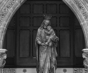 b&w, black and white, and our lady image