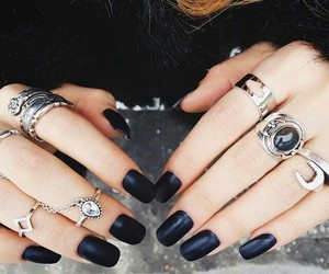 black nails, black, and cool image