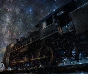 train, stars, and anime image