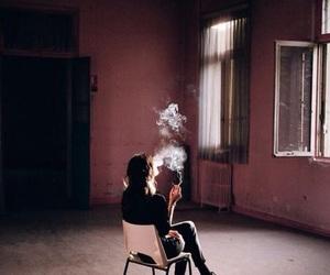smoke, girl, and cigarette image