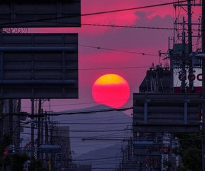 sunset, japan, and sun image