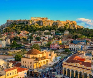 acropolis, city, and Athens image
