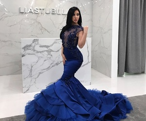 blue dress, Couture, and gown image