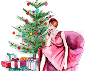 watercolor christmas and redhead pink christmas image