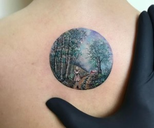 body art, forest, and ink image