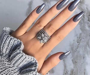 nails, grey, and ring image