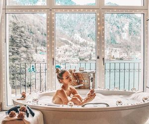 winter, girl, and bath image