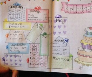 birthday, planner, and spread image