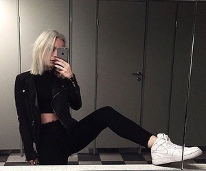 girl, aesthetic, and black image