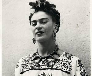 frida kahlo, art, and black and white image
