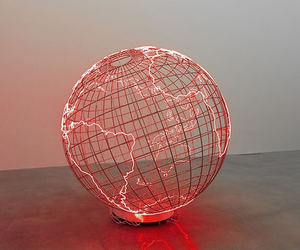 red, light, and earth image