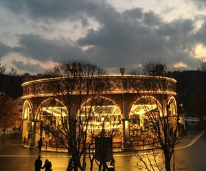 beautiful sky, carousel, and clouds image
