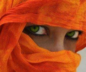 eyes, orange, and green eyes image